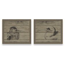 <strong>Epic Art</strong> A Rustic Retreat Herons Wall Art (Set of 2)