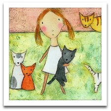 Playroom Bliss Girl with Cats Framed Art