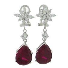 Flower Ruby Drop Earrings