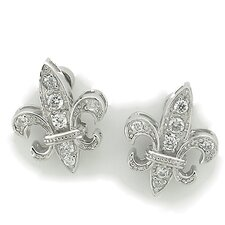 Fleur de Lis Magnetic Backed Stud Earrings