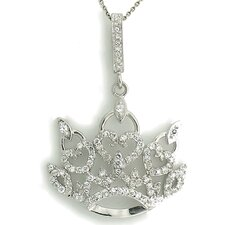 Sterling Silver Pave Crown Cubic Zirconia Necklace