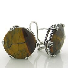 Tiger Eye Button Stud Earrings
