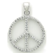 Sterling Silver Peace Sign Cubic Zirconia Necklace