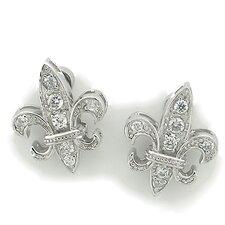 Fleur-de-Lis Button Stud Earrings