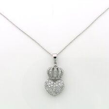 Sterling Silver Crown Heart Cubic Zirconia Necklace