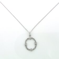 Sterling Silver Open Circle Flower Cubic Zirconia Necklace