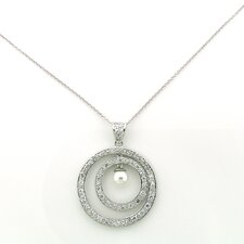 Sterling Silver Circles Cultured Pearl Necklace
