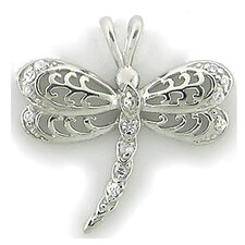 Sterling Silver Dragonfly Cubic Zirconia Necklace