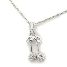 Sterling Silver Double Cherry Cubic Zirconia Necklace
