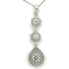 Sterling Silver Cubic Zirconia Triple Drop Necklace