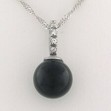 Sterling Silver Onyx Bead Drop Necklace