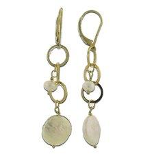 Circles Pearl Drop Earrings