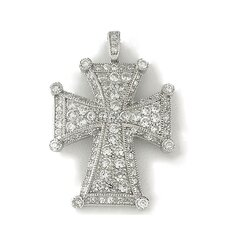 Religious Sterling Silver Maltese Cross Cubic Zirconia Necklace