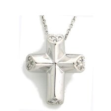 Religious Sterling Silver Cubic Zirconia Cross Necklace