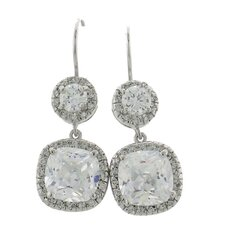 Halo Design Round and Cushion Cut Cubic Zirconia Drop Earrings