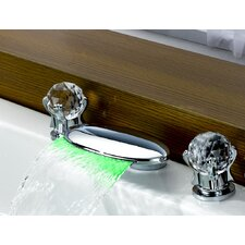 <strong>Sumerain International Group</strong> Double Handle Widespread LED Waterfall Bathroom Sink Faucet