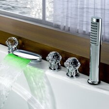 Triple Handle Deck Mount LED Waterfall Tub Faucet with Handshower