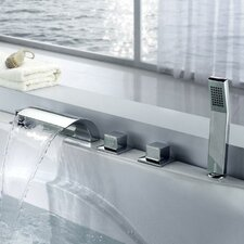 <strong>Sumerain International Group</strong> Triple Handle Deck Mount Waterfall Tub Faucet with Handshower