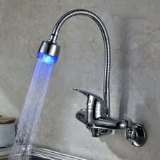 Single Handle Wall Mount LED Kitchen Faucet with Gooseneck