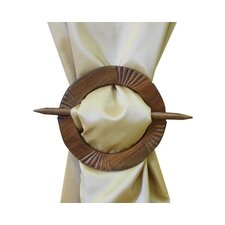 Circular Brooch Curtain Tieback in Dark Brown