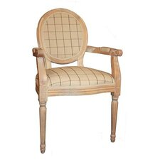 Louis Round Back Chequered Carver Armchair