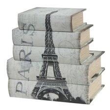 5 Piece Paris Book Storage Box Set