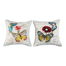 2 Piece Flower and Butterflies Cushion Set
