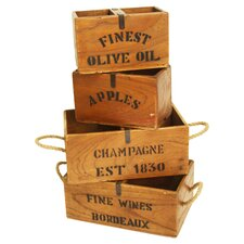 4 Piece Wooden Crates Set