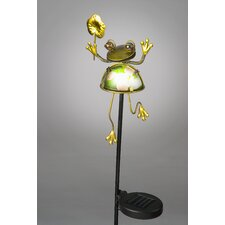 Frog Holding Flower Garden Stake with Solar Powered LED