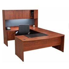 "Double Pedestal ""U"" Executive Desk with Hutch"