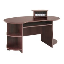 "Laminate Kidney Shaped Computer Desk with CD, DVD and 24"" x 48"" Message Storage"