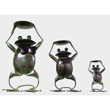 Frog 3 Piece Iron Candle Holder Set