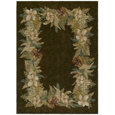 Home Nylon Border Bouquet Brown Novelty Rug
