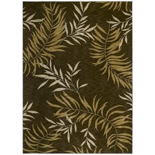Home Nylon Florist Greens Brown Rug