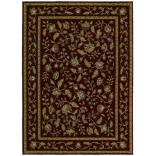 Home Nylon Cranberry Tapestry Garden Rug