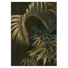 Tommy Bahama Nylon Polynesian Palms Dark Brown Novelty Rug