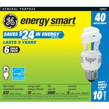 <strong>GE Lighting</strong> 10W Soft White Spiral Compact Fluorescent Light Bulb (Pack of 6)