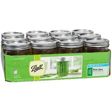 1 Pint Wide Mouth Can or Freeze Canning Jar (Set of 12)