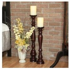 Pacific Accents Hartford Wood Pedestal Candlestick