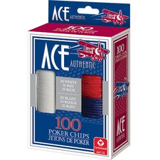 Ace Plastic Poker Chips (Set of 100)