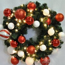 Pre-Lit Blended Pine Wreath Decorated with Candy Ornament