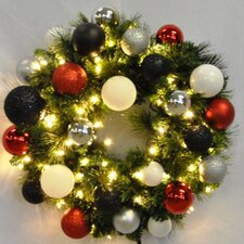 Pre-Lit Sequoia Wreath Decorated with Modern Ornament
