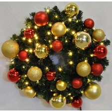Pre-Lit Blended Pine Wreath Decorated with Ornament