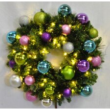 Pre-Lit Blended Pine Wreath Decorated with Victorian Ornament