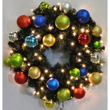 Pre-Lit Blended Pine Wreath Decorated with Fiesta Ornament