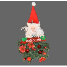 "Battery Operated Santa Claus Hanging ""Welcome"" Arrangement"