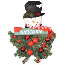 "<strong>Queens of Christmas</strong> Battery Operated Snowman Hanging ""Welcome"" Arrangement"