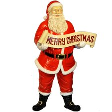 Santa Claus Figurine with Merry Christmas Sign