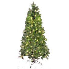 9' Green and Silver Tinsel Tree