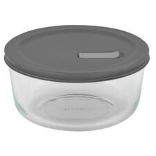 4 Cup Pyrex No Leak Lids Round Container with Plastic Lid